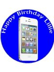 7.5 White Iphone on Blue Background Edible Icing or Wafer Birthday Cake Topper